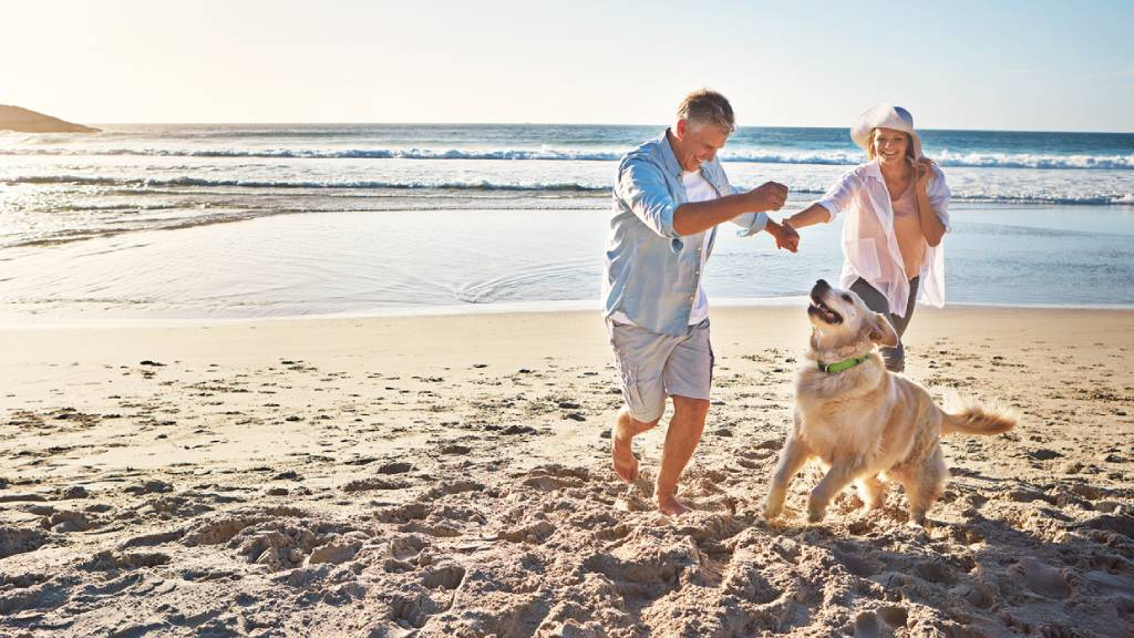 couple on holidays with dog