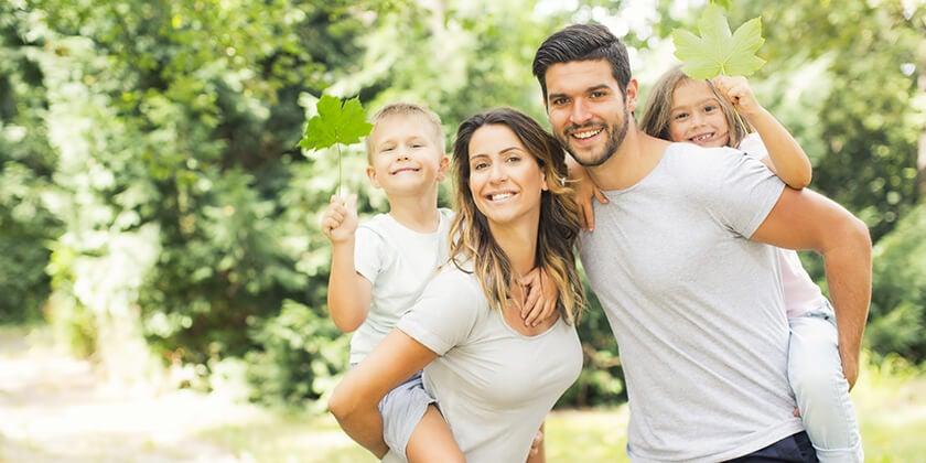 Australian family outdoors