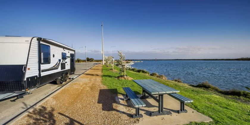 caravan park overlooking australian shore