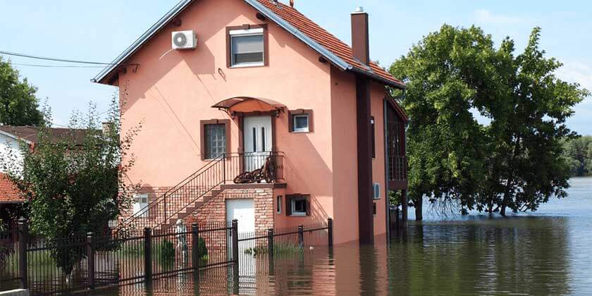 flooded house building