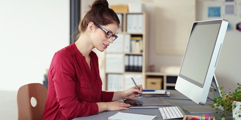 self employed woman using coputer