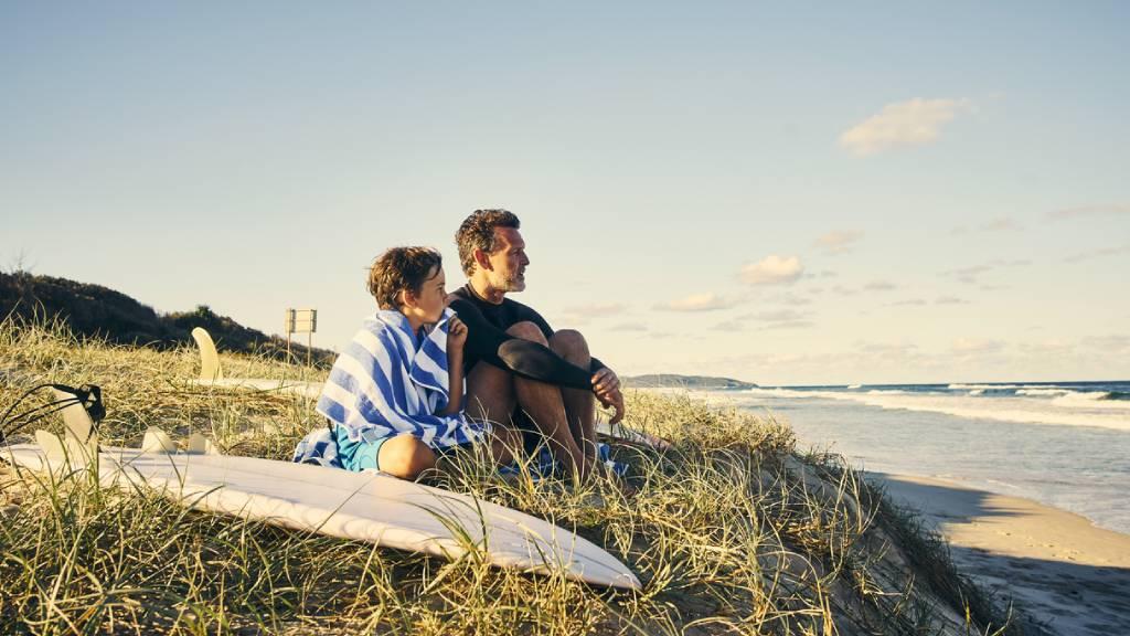 father and son on Australian beach