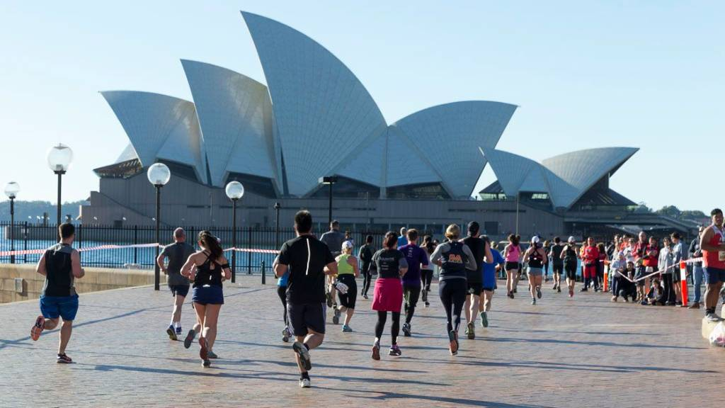 Real Insurance Sydney Harbour 10k and 5k finishing line near Opera House