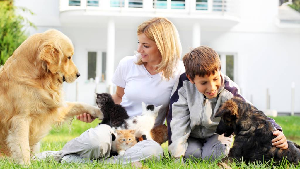 mum and children outside with family pets, cats and dogs