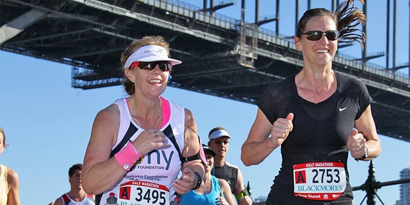 Runner Lisa McEvoy finishing the Real Insurance Sydney Harbour 10k run