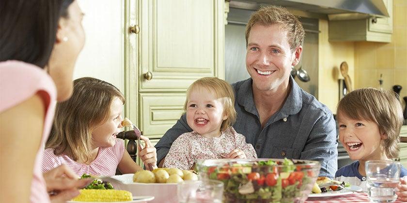 Australian family eating at home