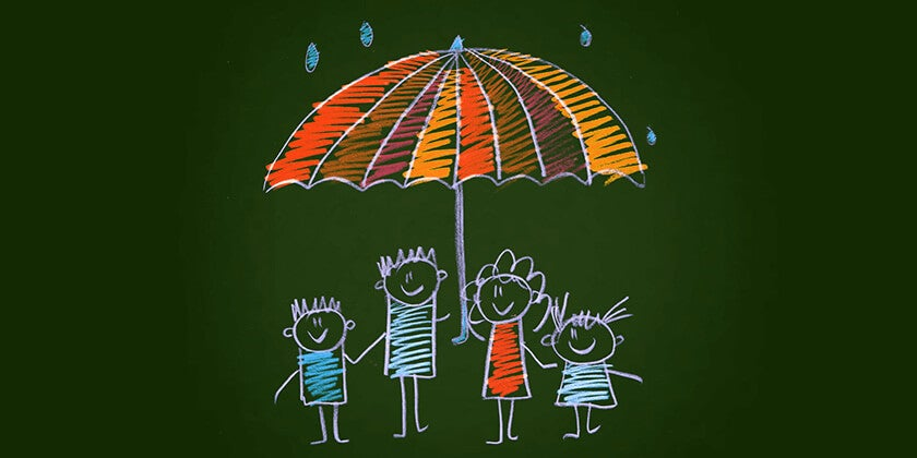 illustration of family under umbrella