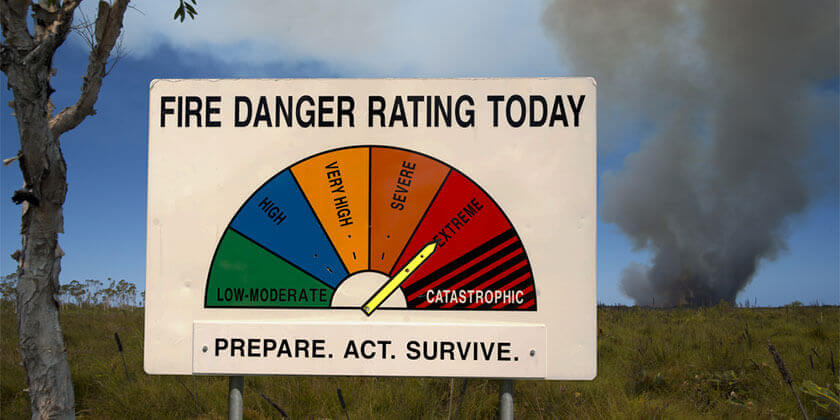 fire danger rating sign