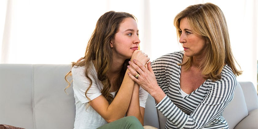 mother and daughter talking about life