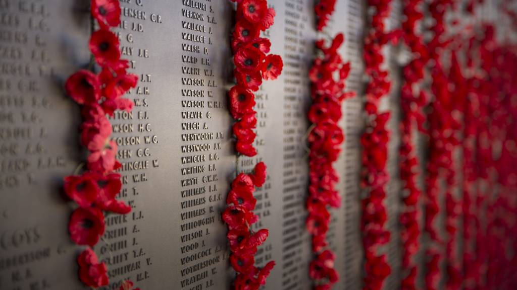 Poppies displayed near memorial name plaque for Anzac Day