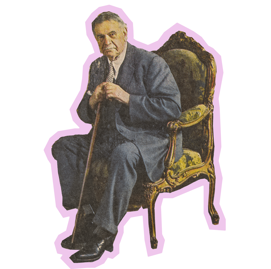 Openmarkets Advice man in a chair is to become an iconic image of wisdom and advice. He's also surrounded with a bit of a lilac halo to offset his rugged features and just give him an air of general pizzazz. Looks pretty comfy, too.