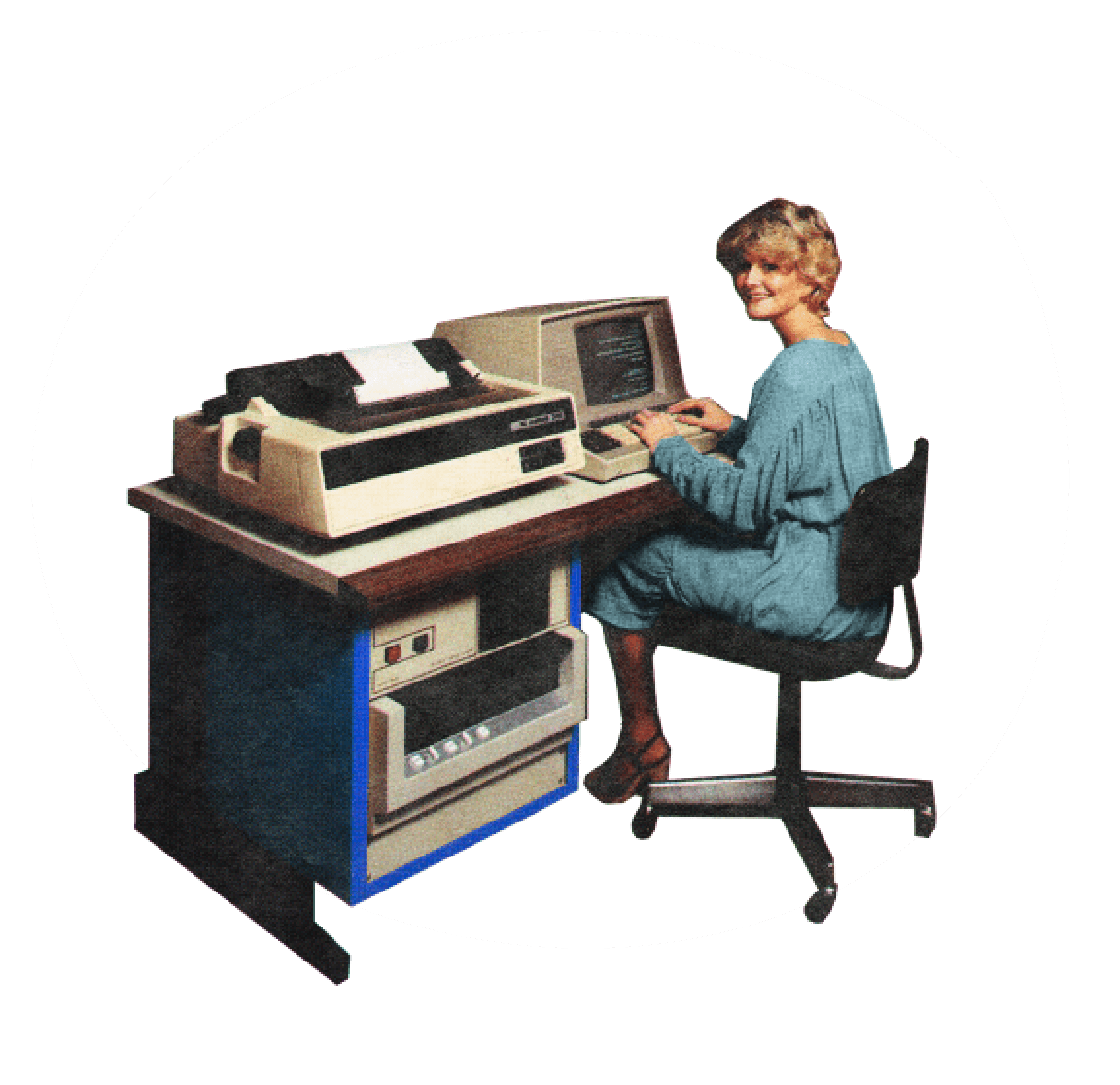 Collage image of woman sitting at an old (original) computer