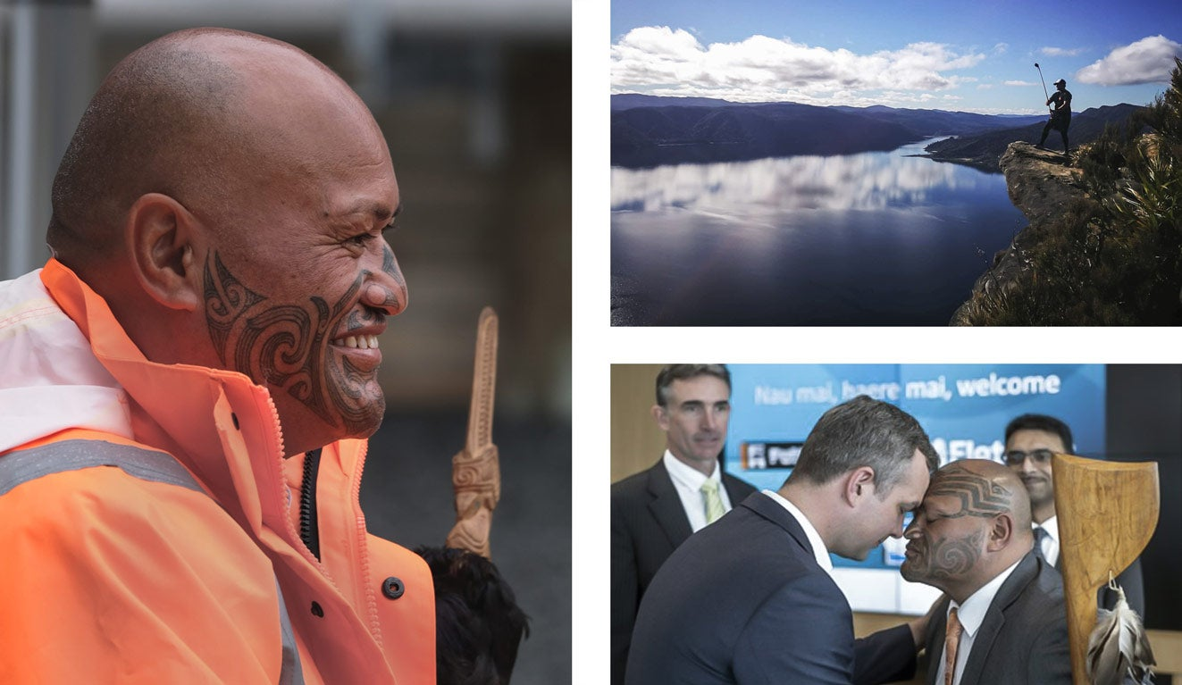 3 images: Watercare Principal Advisor Richie Waiwai: smiling with taihaha, hongi with project stakeholder and an image of his son overlooking Lake Waikaremoana.