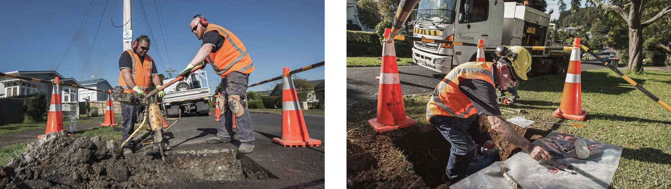 Watercare contractors respond to suburban leaks, discovering the source of and repairing the leak.