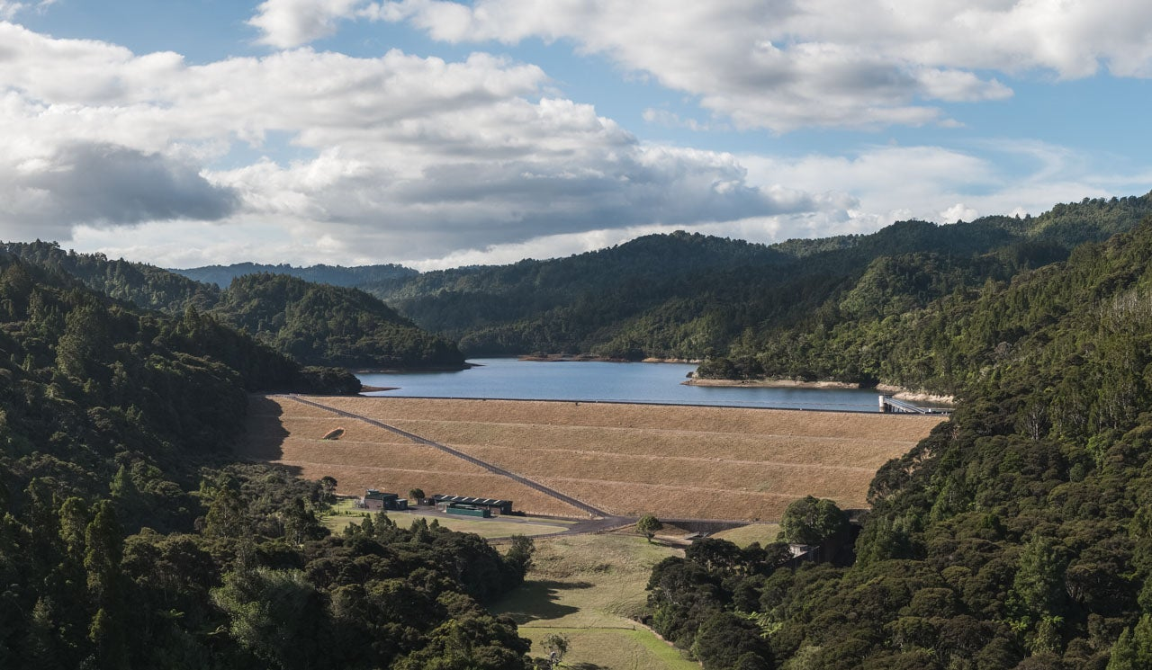 Watercare's Upper Mangatawhiri Reservoir, view north back at water.