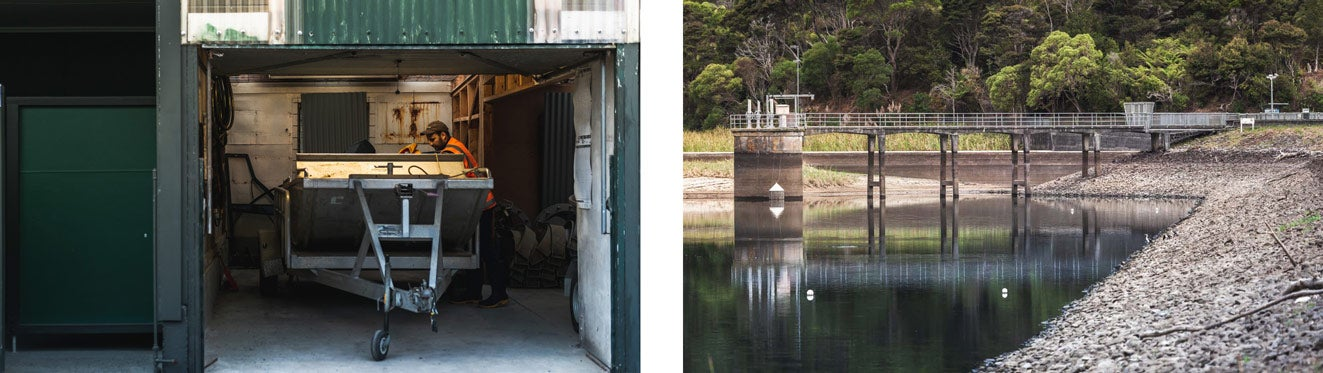 Two images: Watercare dam technician opens the garage and checks the dam boat. Second image: two buoys mark the spot of the eel trap in the Lower Nihotapu dam.