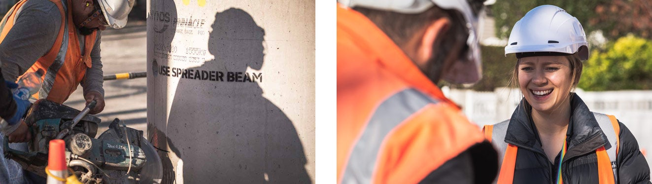 Collection of images showing Watercare and contracting staff investigating and repairing a burst pipe replacement in Ponsonby.