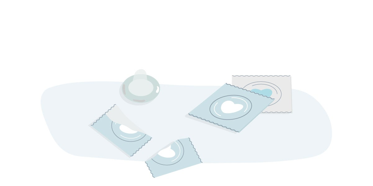 Illustration of condom packets.