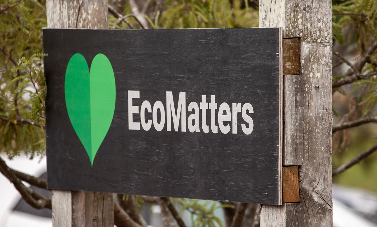 Image of EcoMatter Environment Trust signage at their New Lynn Eco Hub.