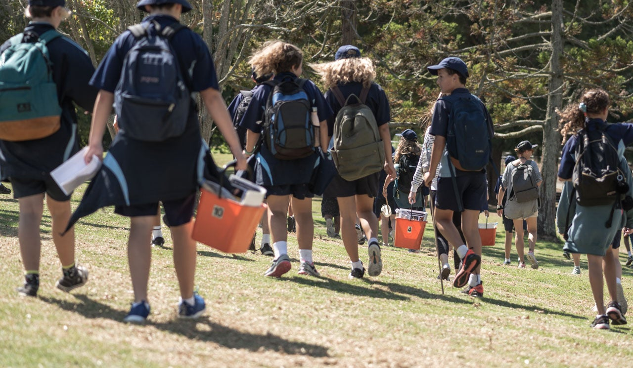 Northcross Intermediate School students walk with their Freshwater Detectives Kits towards their local stream in Sherwood Reserve, which connects to the Taiaotea Creek in Brown's Bay.