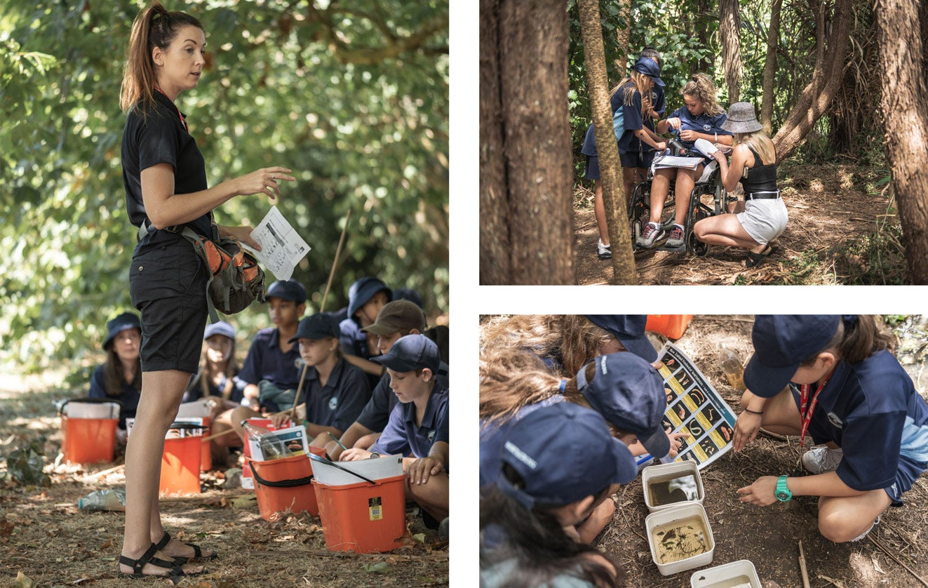 Northcross Intermediate School students are given instruction and guided by Watercare's Education Programme Co-ordinator Sarah Slater before undertaking research with their Freshwater Detectives Kits on a local stream in Sherwood Reserve, which connects to the Taiaotea Creek in Brown's Bay.
