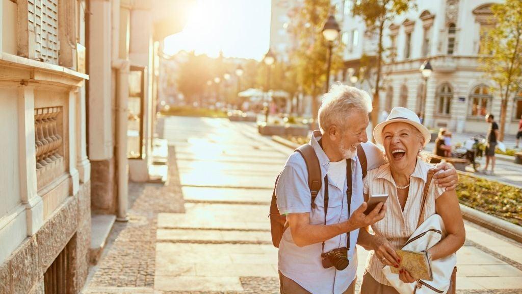 senior couple on dream holiday overseas