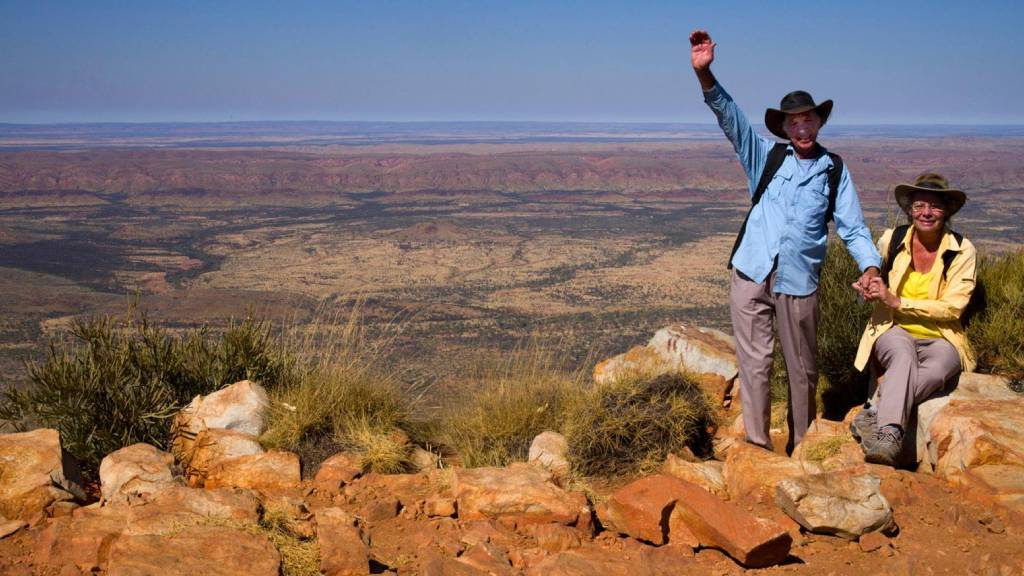 Bob and Phyllis Bowers at the top of Mount Sonder in the Northern Territory.