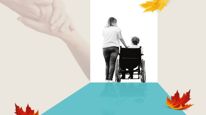 Graphic of wheelchair bound woman and her carer