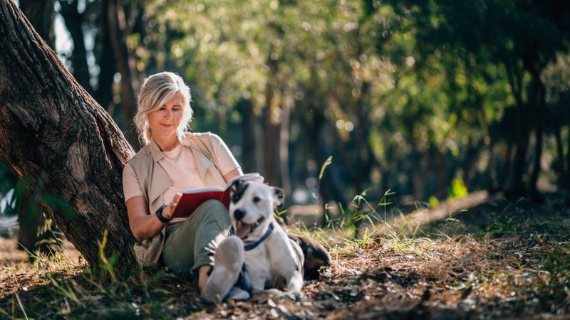 Older Australian woman sits under tree reading a book, in nature with her dog