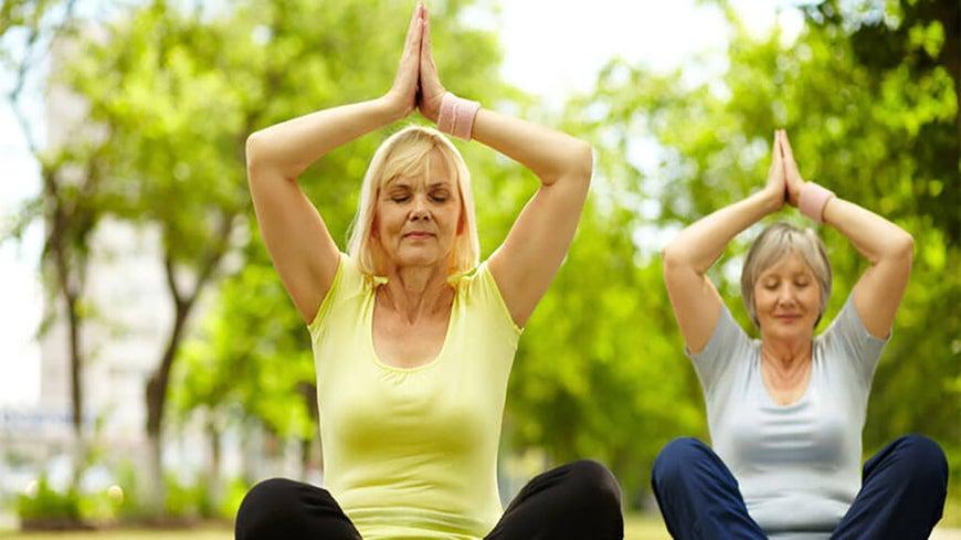 senior women doing yoga in the park