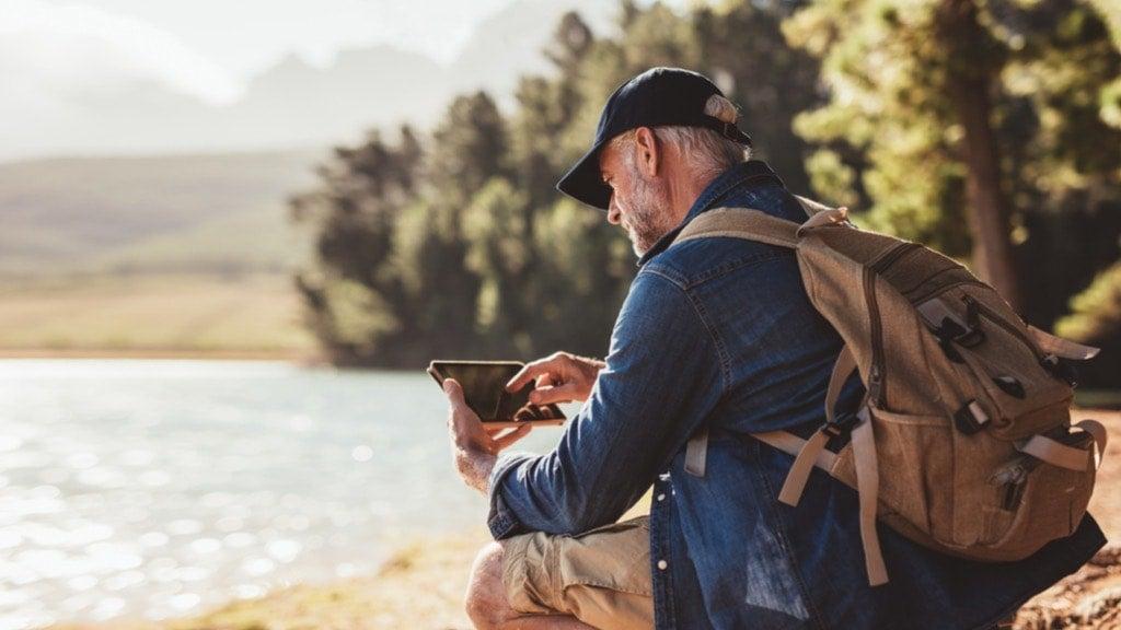 older man travelling alone
