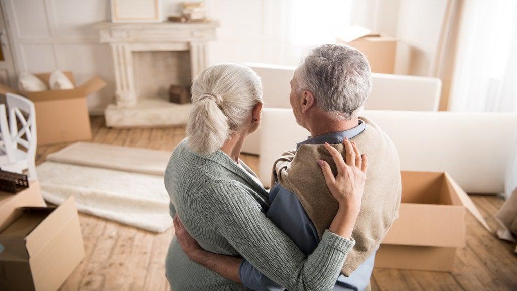 retired couple downsizing