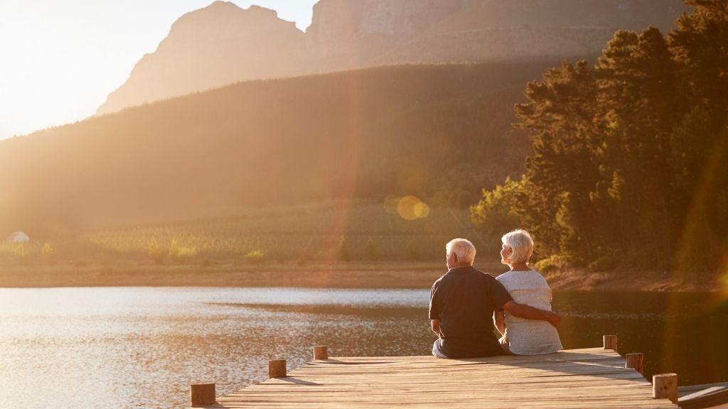 senior couple having intimate discussion