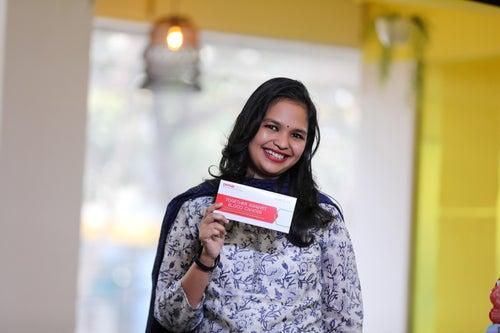Nandini with swab envelope