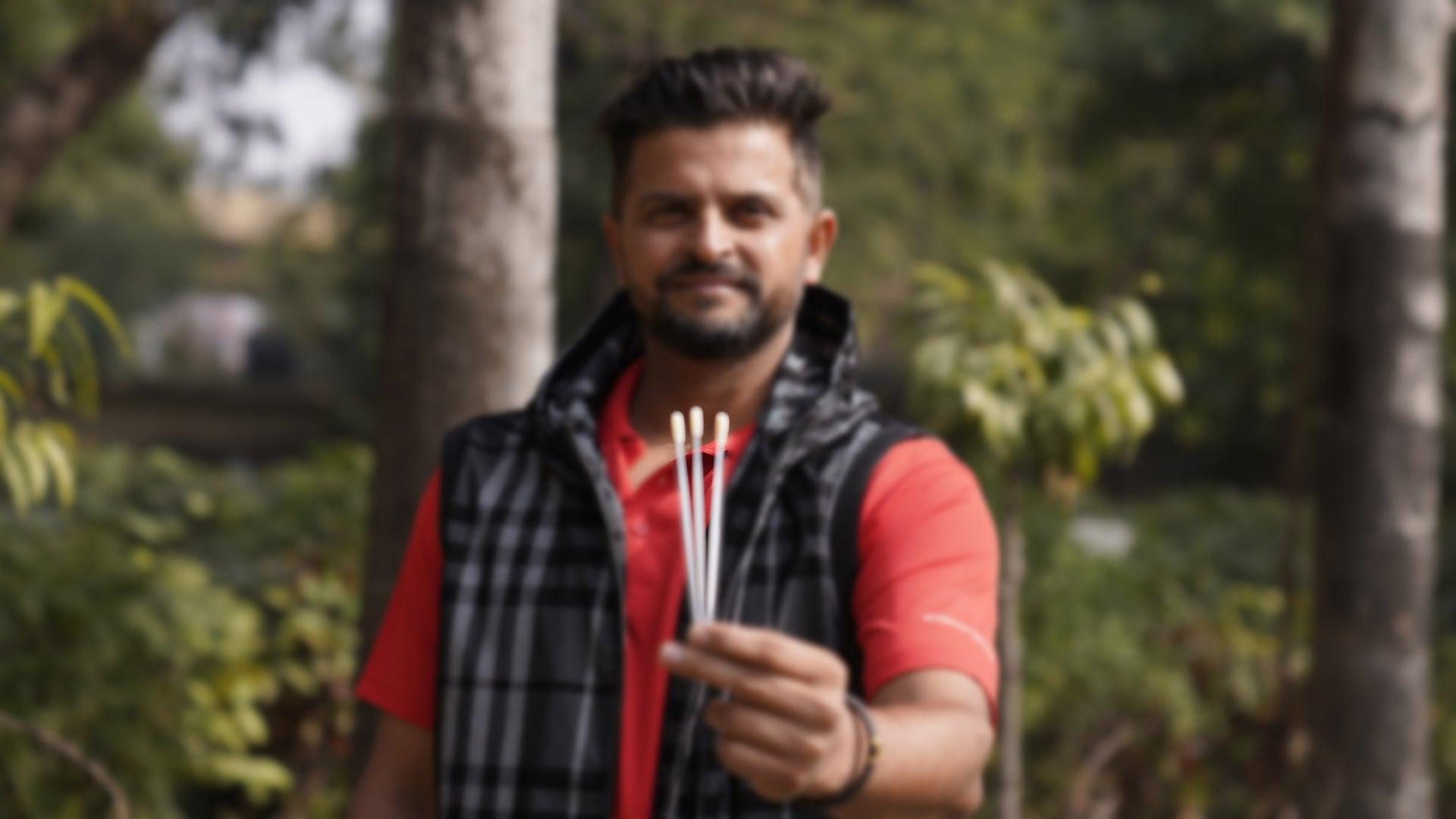 Suresh Raina with swabs