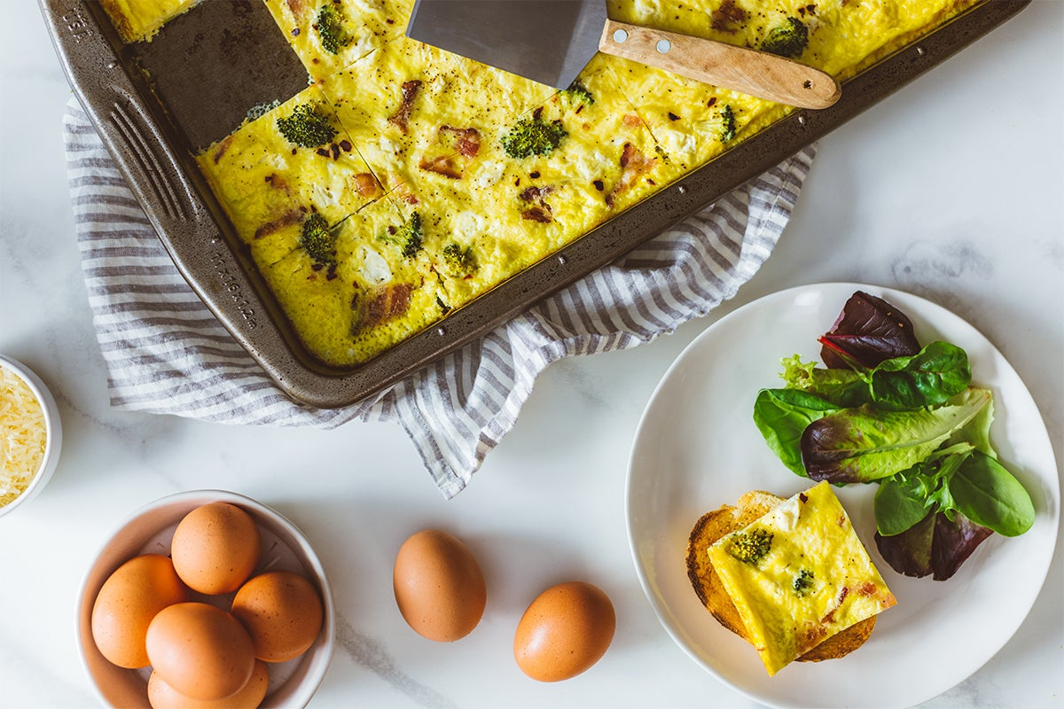 Sheet pan eggs with broccoli and pancetta | a2 Milk® USA