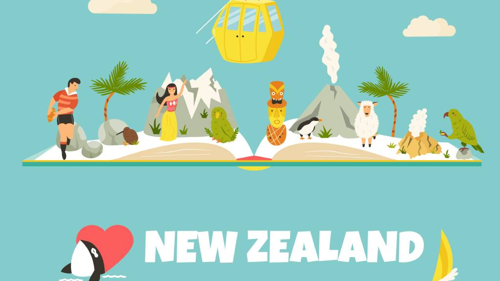 animation showing various different aspects of New Zealand culture