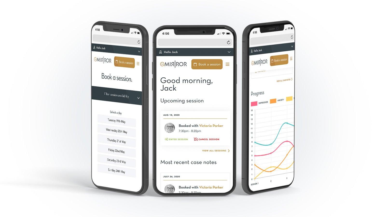 My Mirror   three website pages shown on smartphones   Devotion