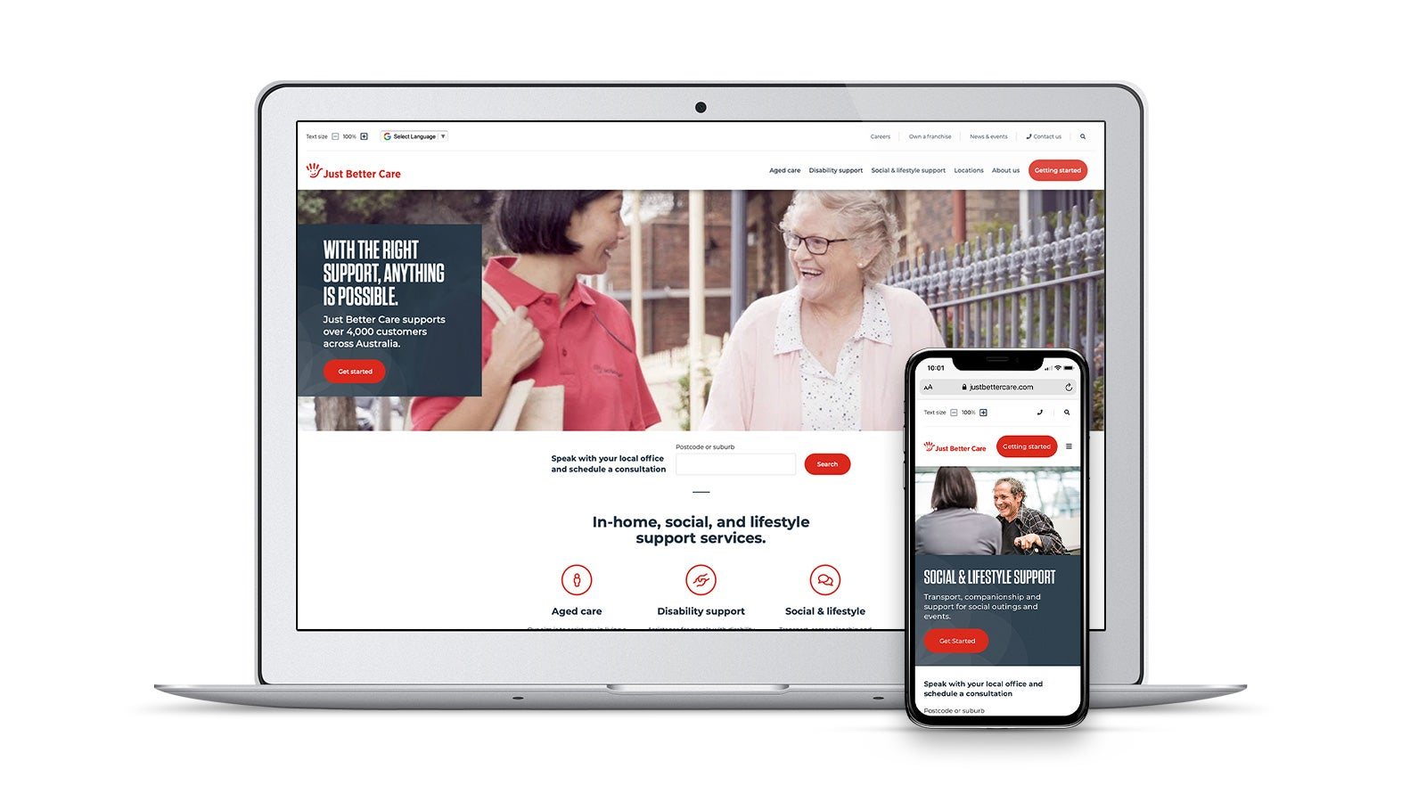 Just Better Care   responsive website homepage on laptop and smartphone   Devotion