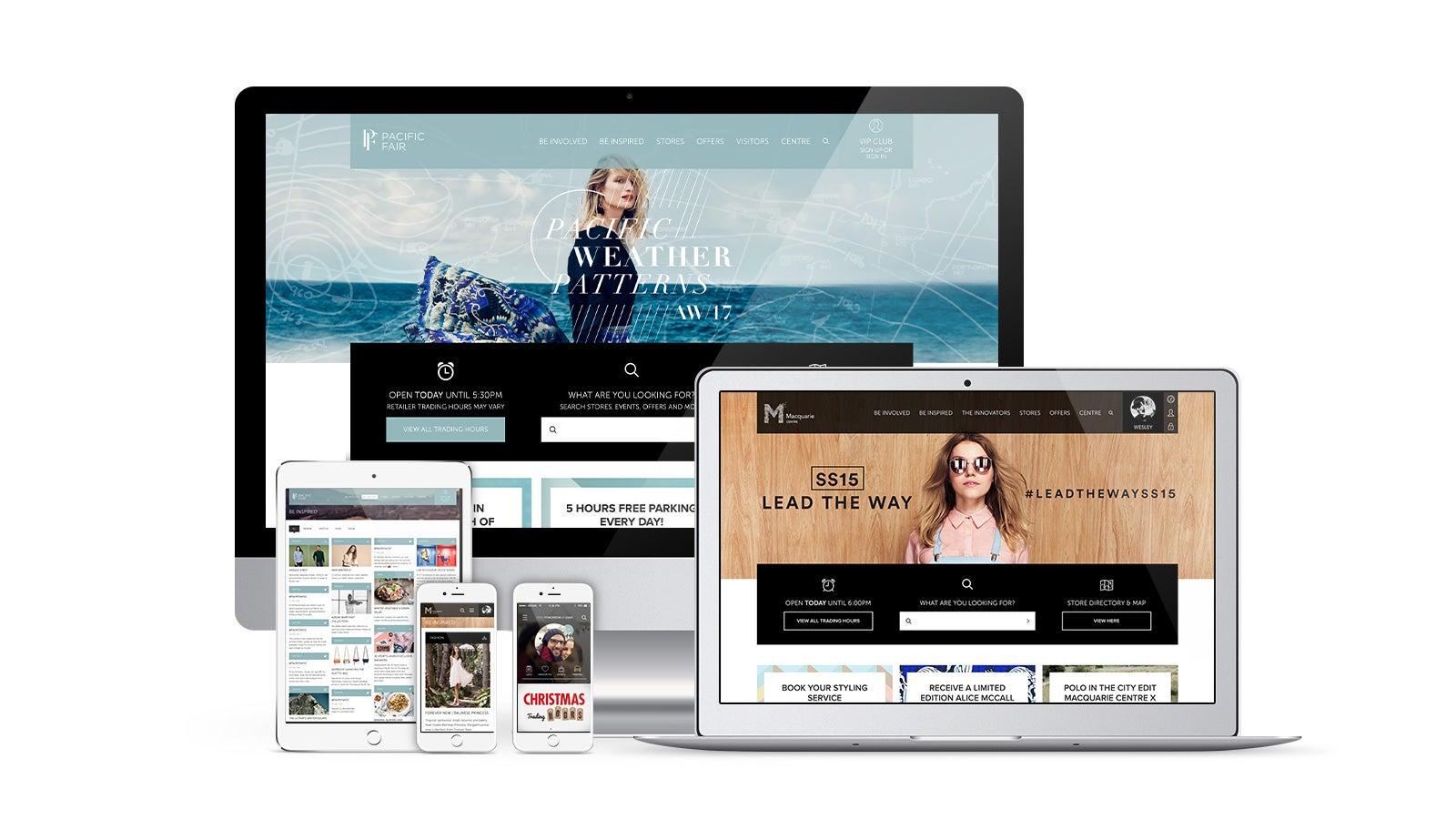 AMP   Pacific Fair and Macquarie Centre responsive websites on desktop, laptop, tablet and mobile   Devotion