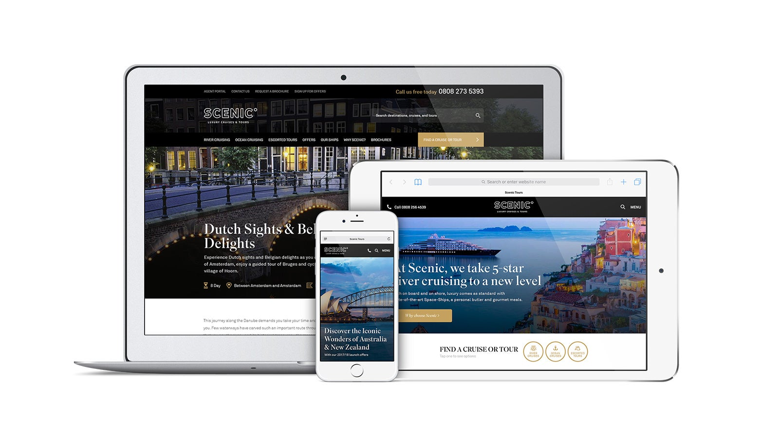 Scenic | responsive homepage on laptop, tablet and mobile | Devotion