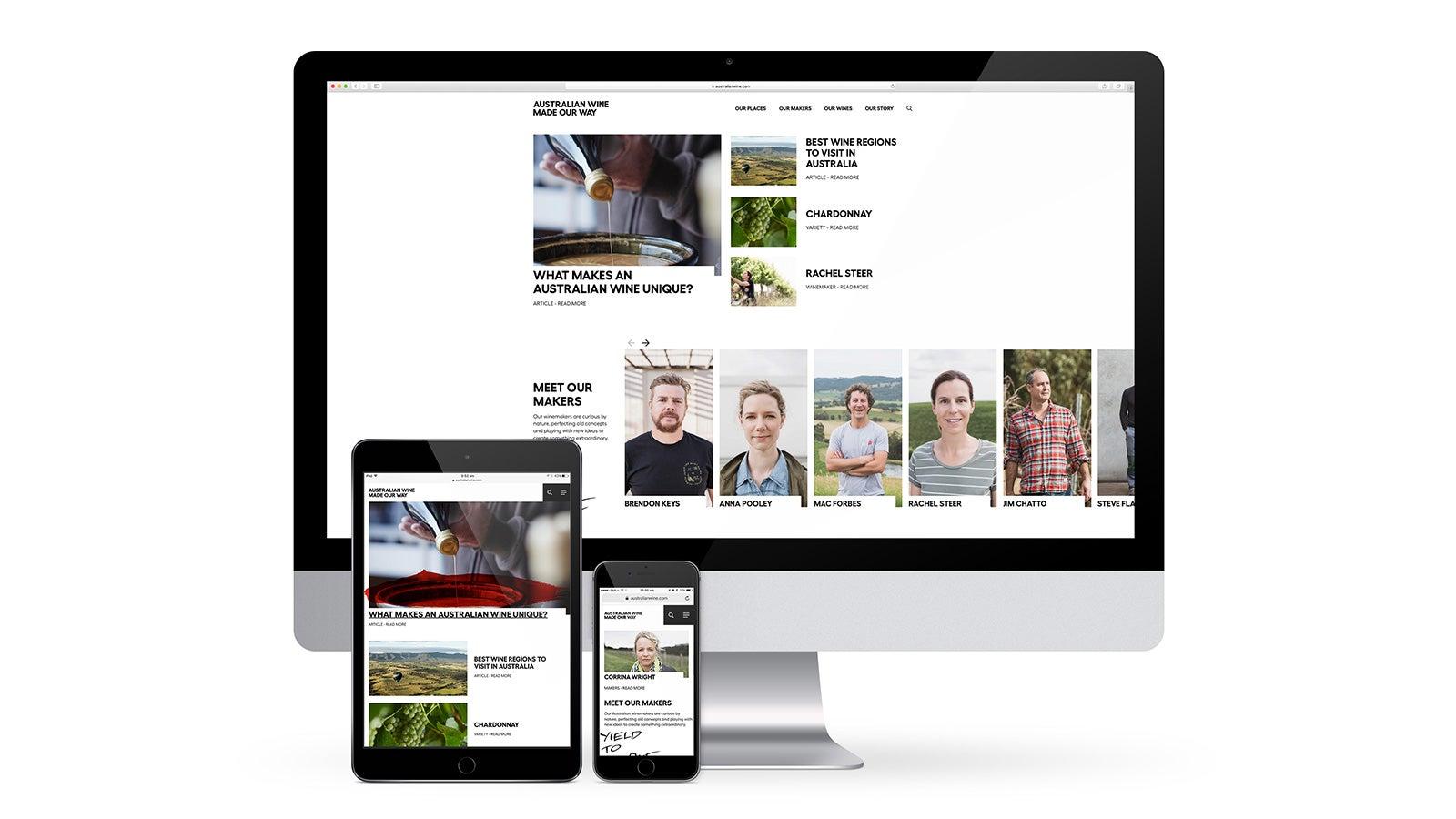 Australian Wine   responsive website design on desktop, tablet and mobile   Devotion