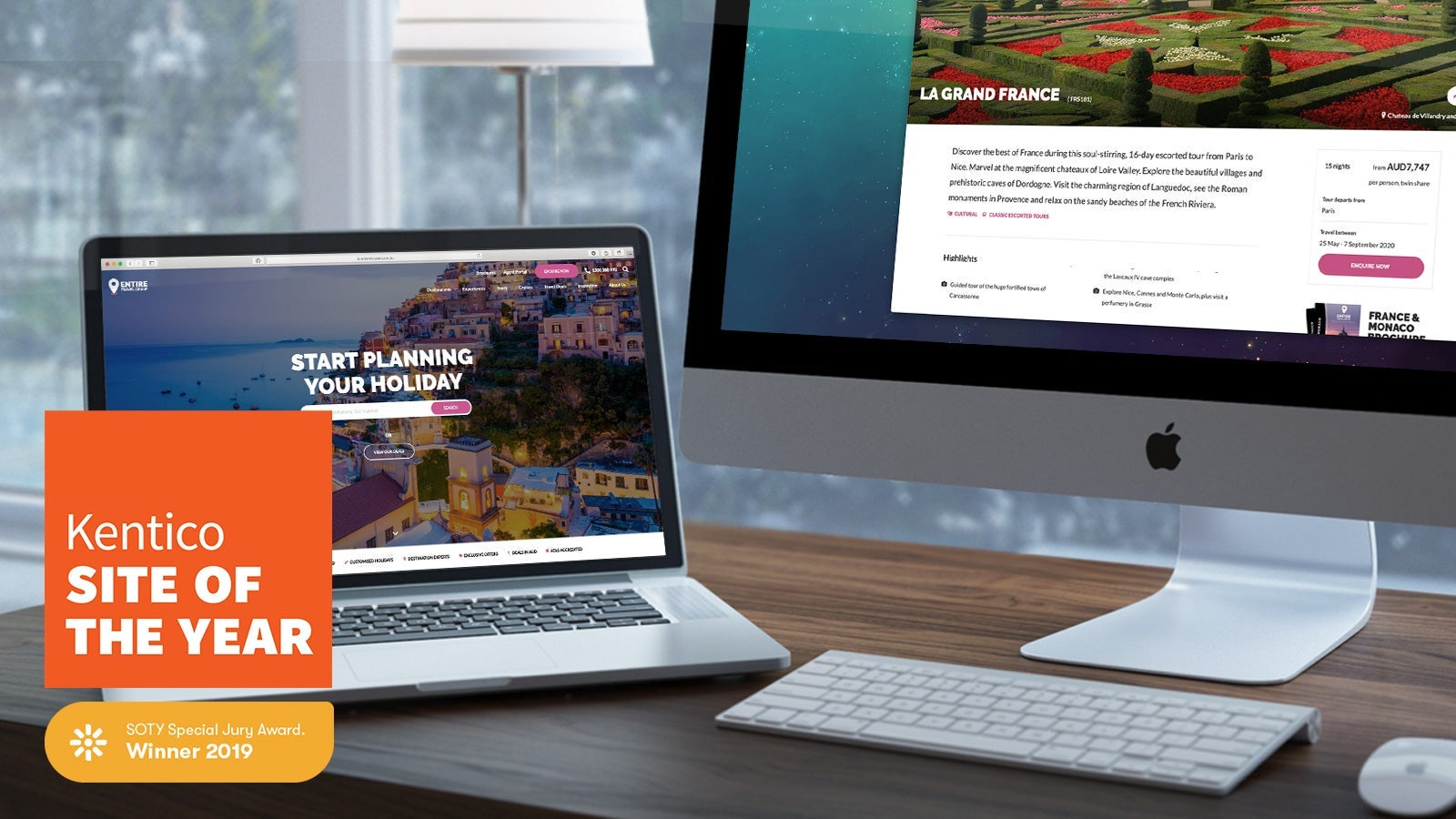 Entire Travel Group | Desktop and laptop showing Entire Travel Group homepage | Devotion