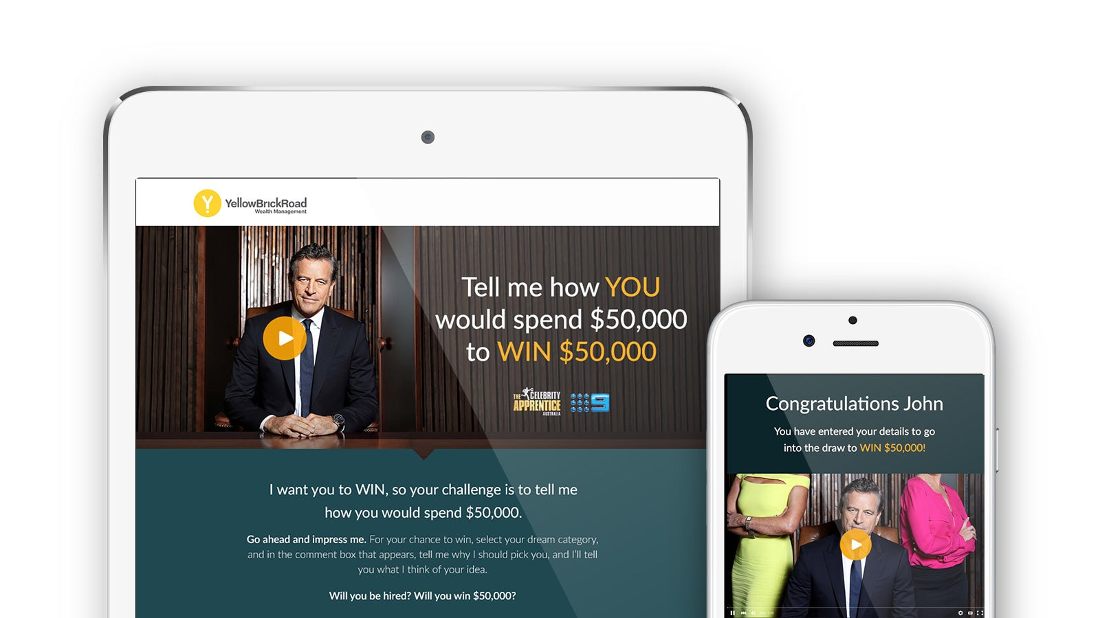 Yellow Brick Road | competition page on tablet and mobile | Devotion