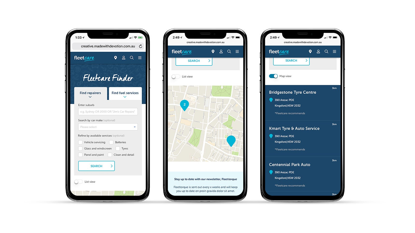 Fleetcare   Fleetcare Finder screens on an iPhone   Devotion