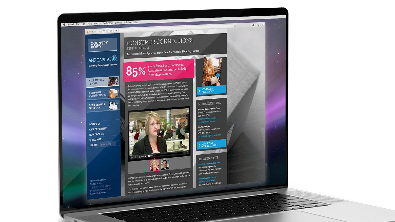 AMP   AMP Capital annual report on laptop   Devotion