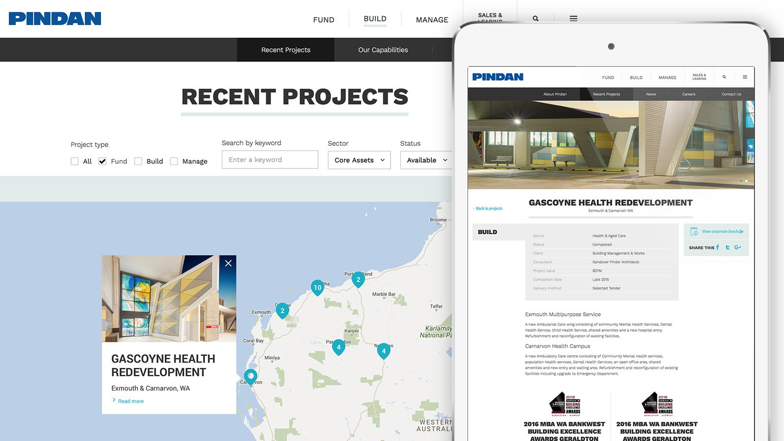 Pindan   recent projects website page and project details website page displayed on tablet   Devotion