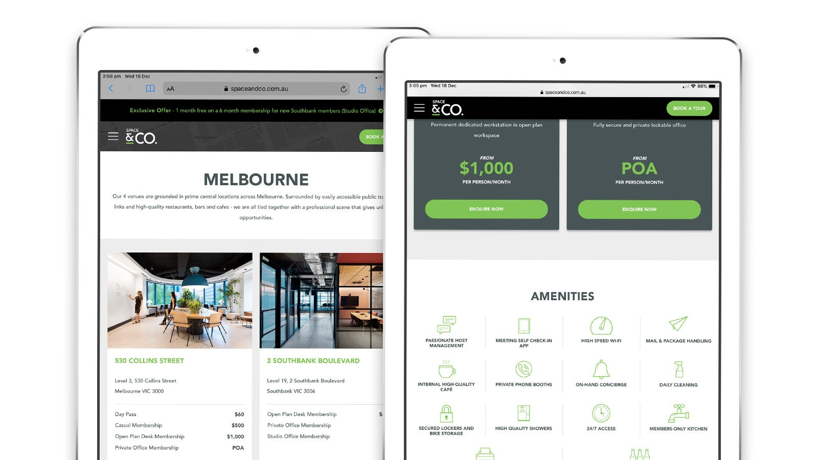 Space & Co. | website pages on tablet | Devotion