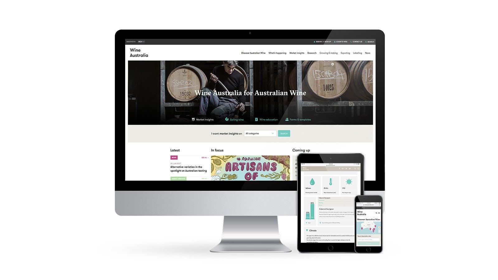 Wine Australia   responsive website design on desktop, tablet and mobile   Devotion