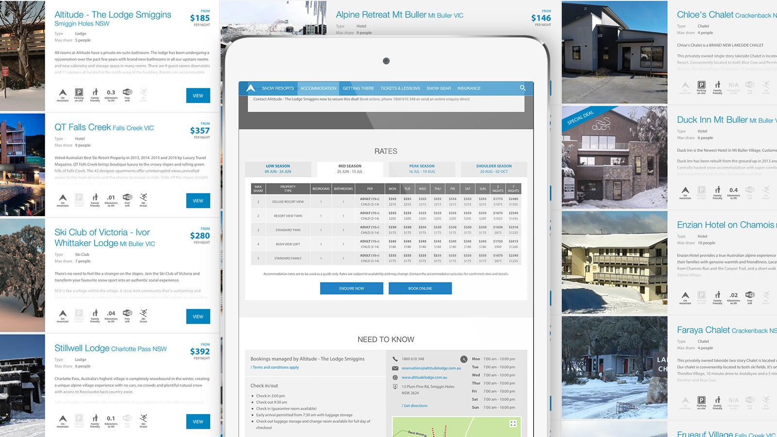 Snowsearch | accomodation rates page | Devotion